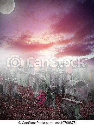 Old ruined graveyard in mystery fog - csp10709875