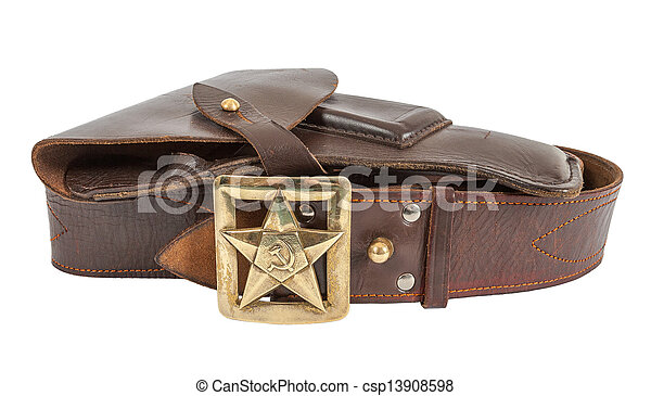 Old russian belt and holster isolated on white background - csp13908598