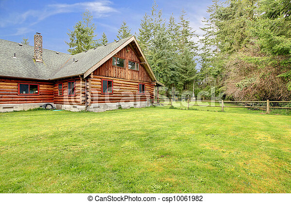 Old rustic American log cabin in the country side. - csp10061982