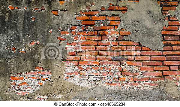 Old Rustic Brick And Cracked Plaster Texture Background