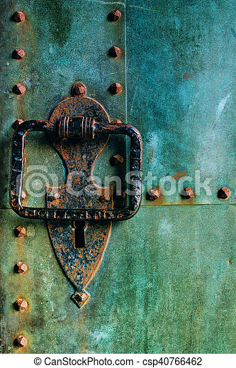 Old Rustic Copper Castle Metal Door With Large Knocker