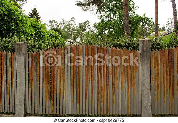 Old Rusty Steel Metal Fence Arround House Yard Old Rusty Steel