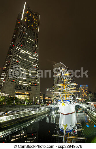 Old sailing ship and skyscraper - csp32949576