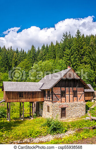 old sawmill in the museum Kysuce village, Slovakia, central Europe - csp55938568