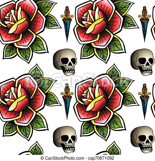 Old school retro vintage doodle tattoo seamless pattern. Rose, skull. knife. continuous openwork emblems symbols. Vector line art oldschool tattoo illustration. Best for printing wrapping paper - csp70871092