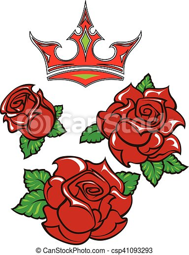 e3863ffbbe2ad Old-school styled tattoo of three red roses with green leaves and red  crown. editable vector illustration isolated on white background.