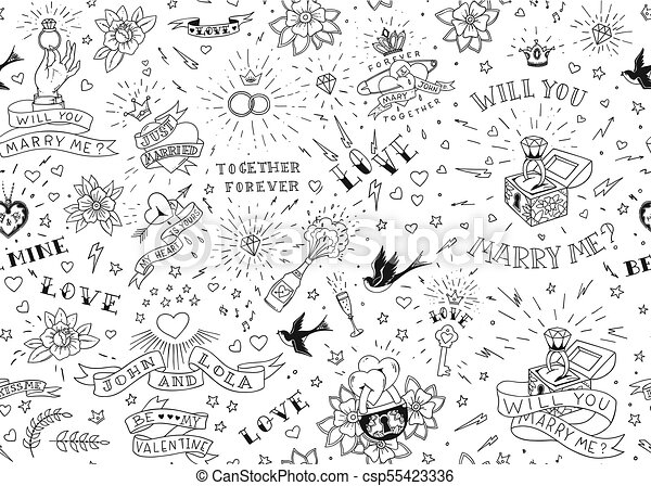 Old School Tattoos Seamles Pattern With Birds Flowers Roses And Hearts Love And Wedding Theme Black And White Traditional Tattoo Design Vector
