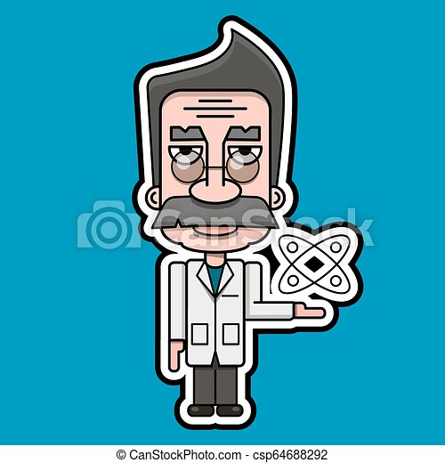 Old Scientist Icon Retro Cartoon Design Vector - csp64688292