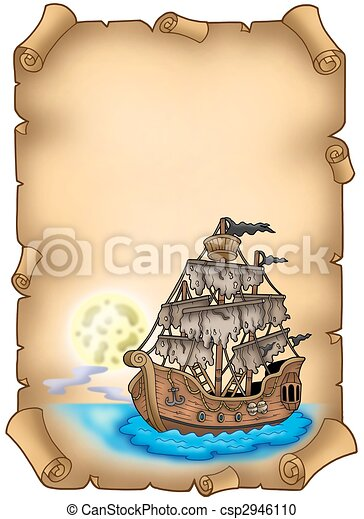 Old scroll with mysterious ship - csp2946110