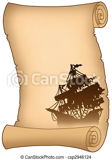 Old scroll with mysterious ship silhouette - csp2946124