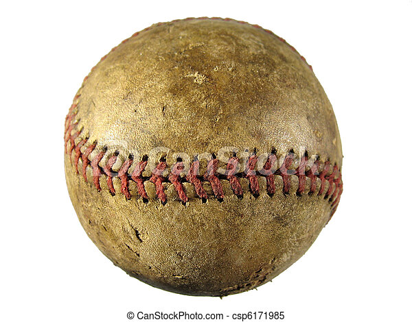 Old Scuffed Baseball Used And Stained Stock