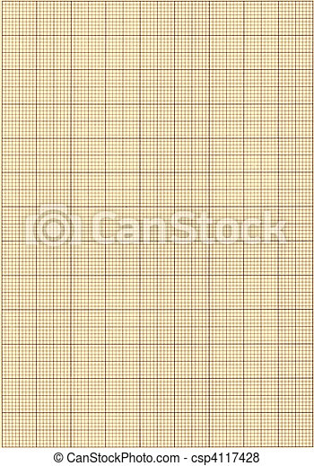 Old sepia graph paper square grid background. - csp4117428