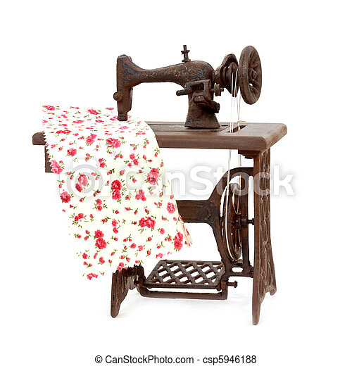 old sewing machine isolated on white background - csp5946188