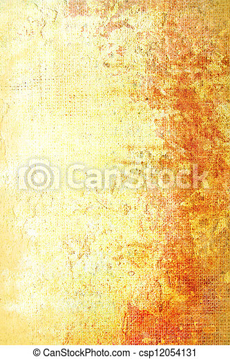 Old shabby wall: Abstract textured background with red, white, and brown patterns on yellow backdrop - csp12054131