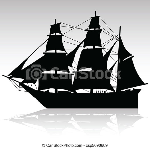 old ship sailing vector silhouettes - csp5090609