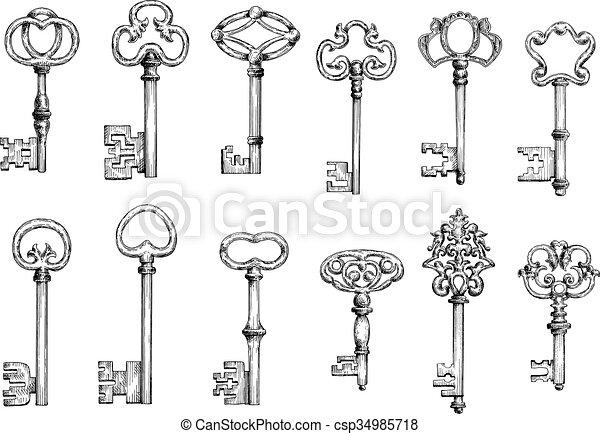 Old skeleton keys sketches set - csp34985718