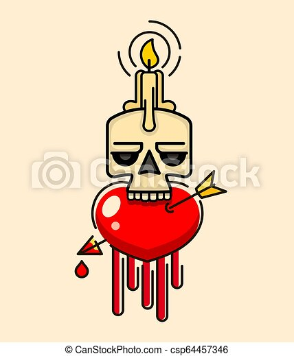 Old Skull with wax candle on head vector - csp64457346