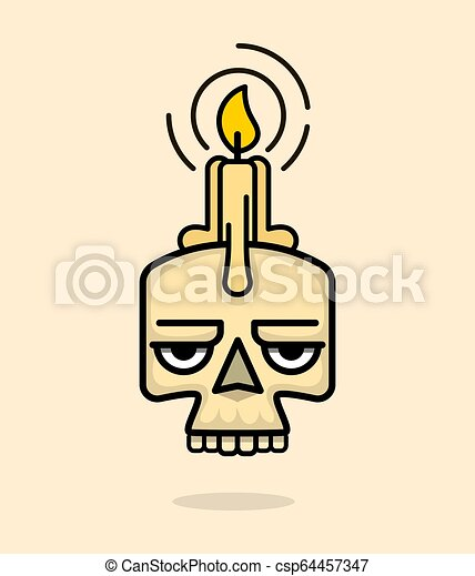 Old Skull with wax candle on head vector - csp64457347