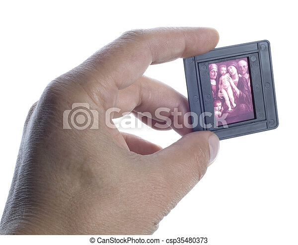 Old slide in the hand - csp35480373