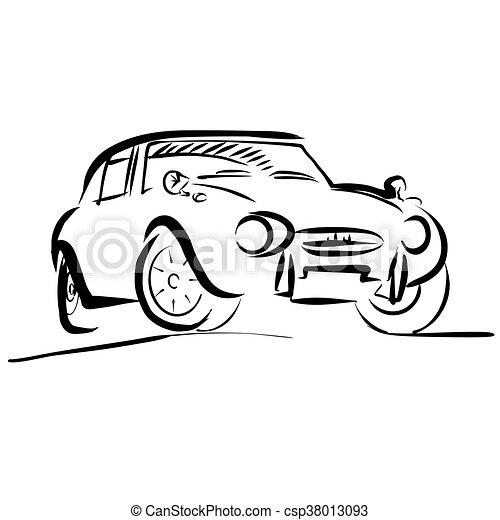 Old Small Sport Car Outline Sketch Vector Artwork
