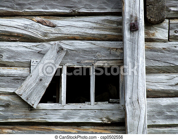 Old small window in wooden house - csp0502556
