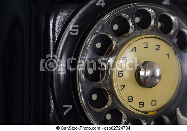 Old Soviet dialing telephone dial, close-up - csp62724734