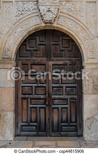 Old Spanish Mission Doors - csp44815906 & Old spanish mission doors made of thick carved wood stock ...