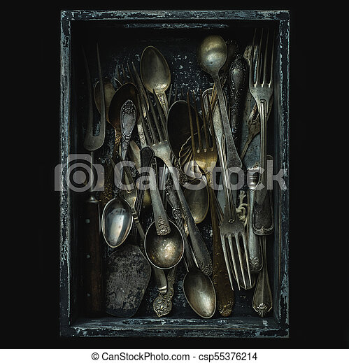 Old spoons, forks and knives, vintage style. - csp55376214