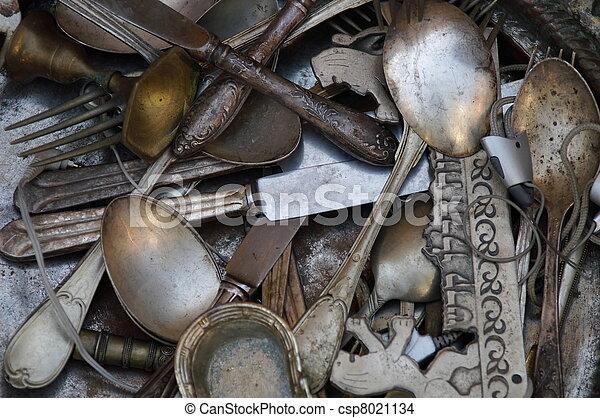 Old spoons, forks, knifes - csp8021134