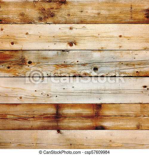 Old stained pine wood background square format - csp57609984