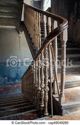 Old Stairs In Abandoned Building   Csp49049280
