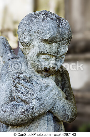 Old statue on grave in Lviv - csp44297143