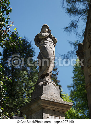 Old statue on grave in Lviv - csp44297149