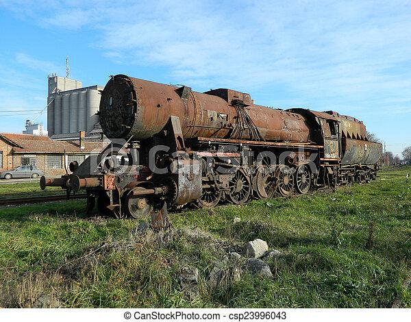 Old steam locomotive - csp23996043