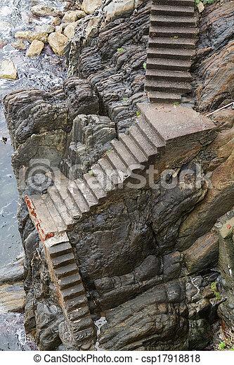 Old Steep Stone Stairway. Stock Photo
