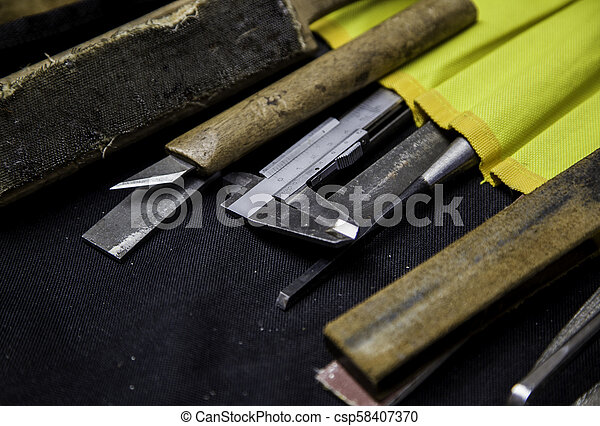Old stone carving tools in traditional way old tools for carving