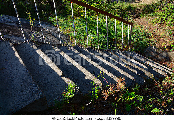 old stone stair lit by sunlight. this image for nature, architecture, plants, travel, background, - csp53629798