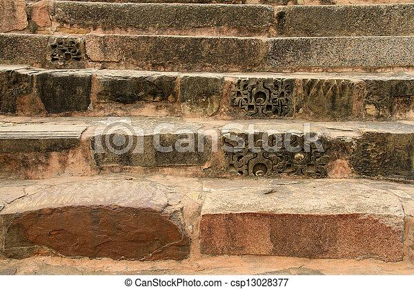 Old stone stairs in Khajuraho, India - csp13028377