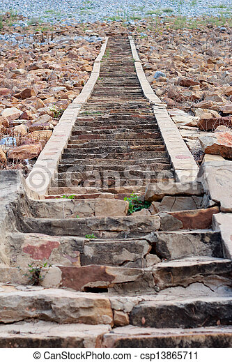 Old stone stairs. - csp13865711