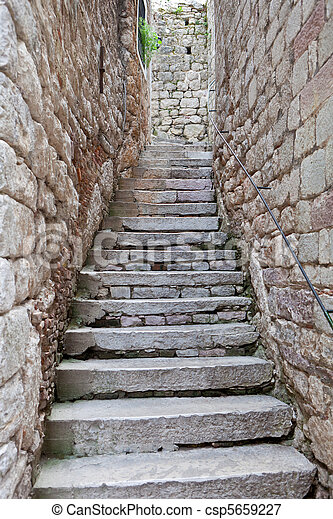 Old Stone Stairs Between Two Stone Walls
