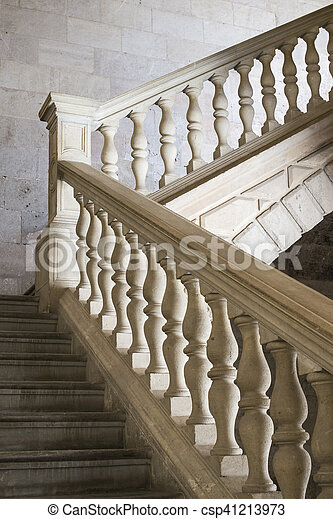 Old stone stairs with decoration - csp41213973