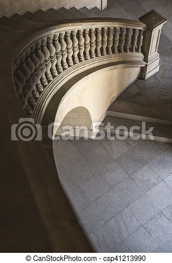 Old stone stairs with decoration - csp41213990