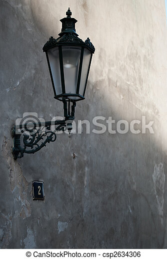 old street lamp on the wall - csp2634306