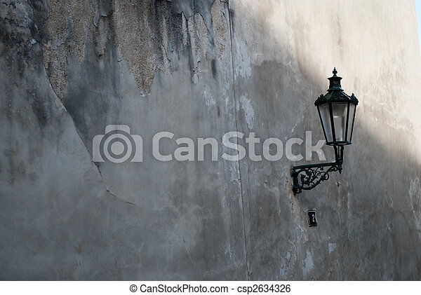 old street lamp on the wall - csp2634326