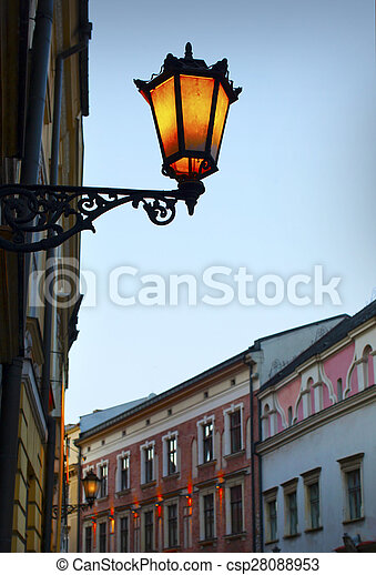 Old street lamp on the wall - csp28088953