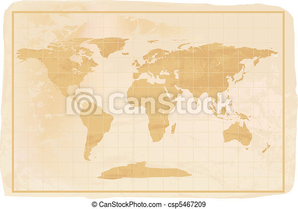 World Map Old Style.Old Style Anitioque World Map Illustration Of A Yellow Old Vintage