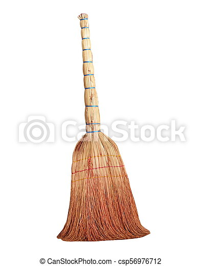 Old style broom isolated on white - csp56976712