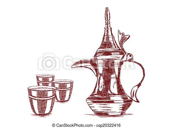 Line Art Illustration Style : Old style hand drawn arabic coffee pot vector illustration