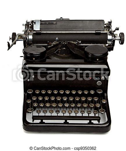 Old Style Typewriter Isolated on White - csp9350362