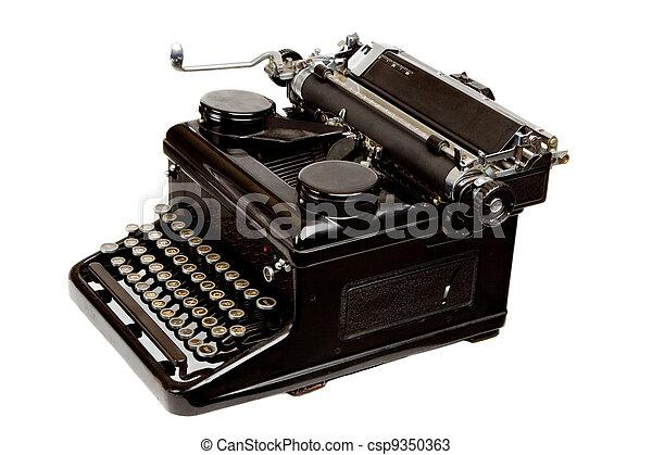Old Style Typewriter Isolated on White - csp9350363